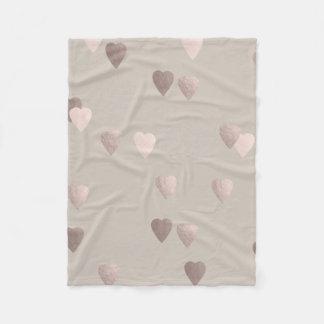 simple clear rose gold foil love hearts, neutral fleece blanket