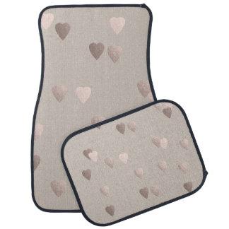 simple clear rose gold love hearts, neutral car mat