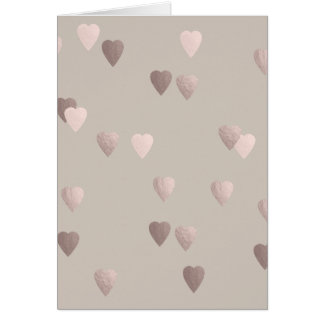 simple clear rose gold love hearts, neutral card