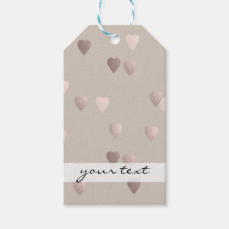 simple clear rose gold love hearts, neutral gift tags