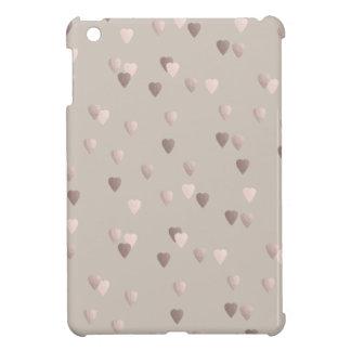 simple clear rose gold love hearts, neutral iPad mini case