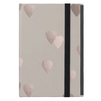 simple clear rose gold love hearts, neutral iPad mini case