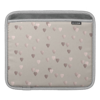 simple clear rose gold love hearts, neutral iPad sleeve