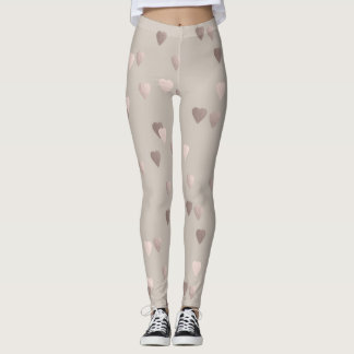 simple clear rose gold love hearts, neutral leggings