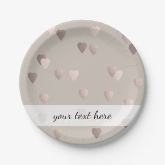 simple clear rose gold love hearts, neutral paper plate