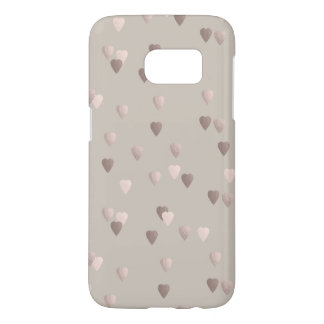 simple clear rose gold love hearts, neutral samsung galaxy s7 case