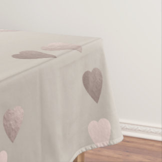 simple clear rose gold love hearts, neutral tablecloth