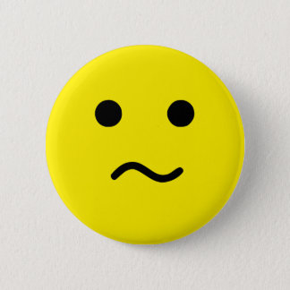 Simple Confused Meh Yellow Face 2 Inch Round Button
