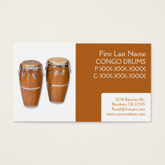 Simple congo drums music business cards