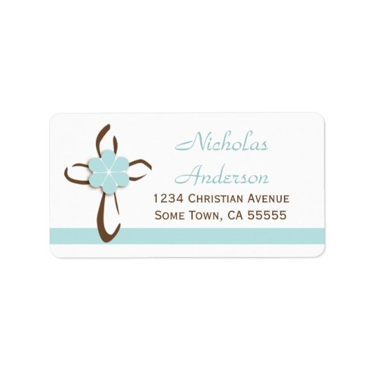 Simple Contemporary Cross with Blue Address Label2