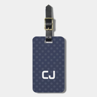 Simple Cool Blue Dotted Monogram Luggage Tag