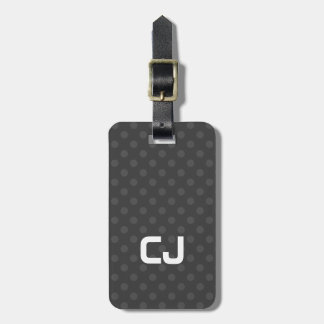 Simple Cool Grey Dotted Monogram Luggage Tag
