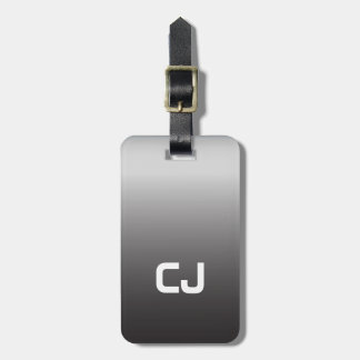Simple Cool Grey White Monogram Luggage Tag