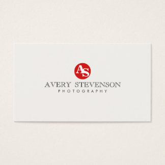 Simple Cool Hip Red Monogrammed Photography Business Card