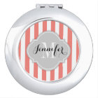 Simple Coral Pink and White Stripes with Monogram Vanity Mirror