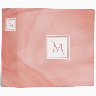 Simple Coral Pink Subtle Marble Modern Monogram 3 Ring Binder