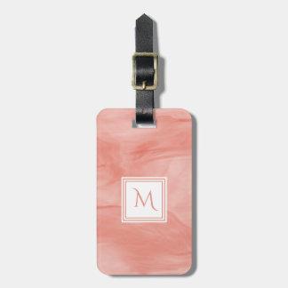 Simple Coral Pink Subtle Marble Modern Monogram Luggage Tag
