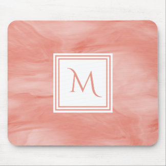 Simple Coral Pink Subtle Marble Modern Monogram Mouse Pad