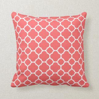 Simple Coral Quatrefoil Pattern Throw Pillow