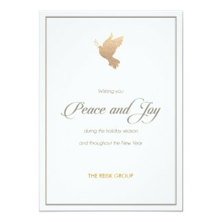 Simple Corporate Gold Dove Holiday Card