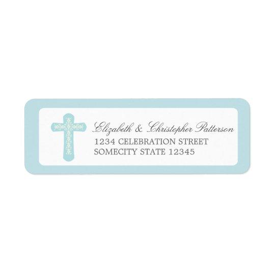 Simple Cross in Blue Address Label