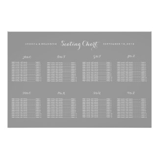 Simple Custom Color Wedding Seating Chart Poster