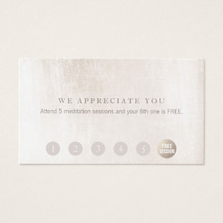 Simple Customer Loyalty 6 Punch White Marble Business Card