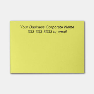 Simple Customized Business Company Name on Yellow Post-it Notes