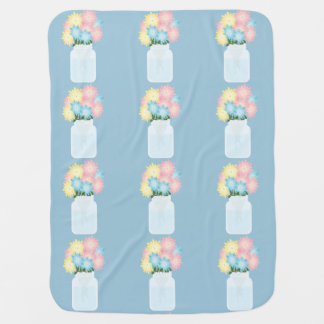 Simple Cute Aqua Blue Glass Floral Mason Jar Swaddle Blankets