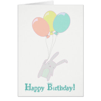 Simple cute bunny with ballons card