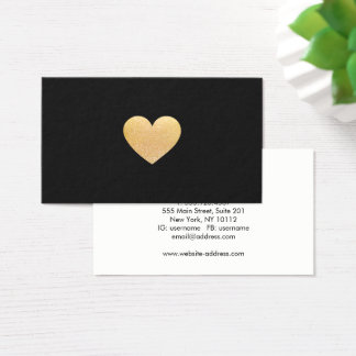Simple Cute Gold Glitter Heart Black Networking Business Card