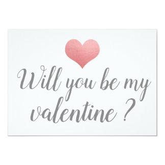 Simple Cute Heart Be My Valentine Romantic Script Card