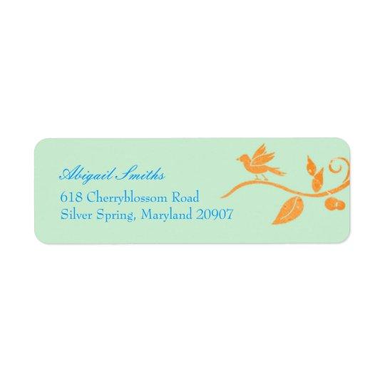 Simple, Cute Mint Green Bird Theme Address Labels