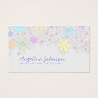 Simple Cute Pastel Flower Babysitter Card