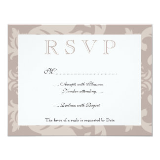 Simple Damask Taupe RSVP Card