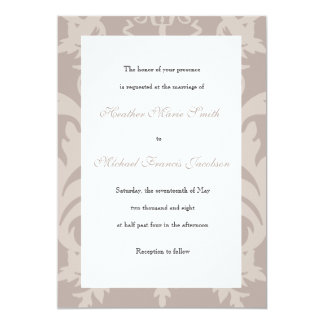 Simple Damask Taupe Wedding Invitation