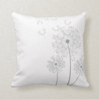 Simple Dandelion Seeds Blowing Throw Pillow