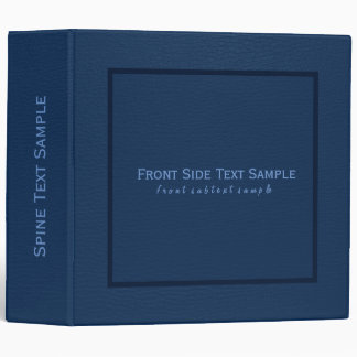 Simple Dark Blue Leather Texture Vinyl Binders