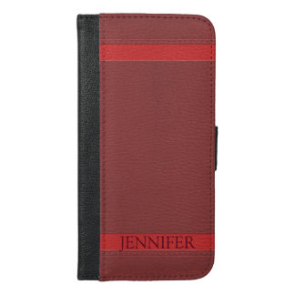Simple Dark Red Faux Leather Look Monogram iPhone 6/6s Plus Wallet Case