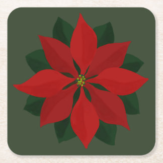 Simple Deep Red Christmas Poinsettia Square Paper Coaster