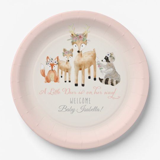 Simple Deer Antler Woodland Animals Baby Girl Paper Plate