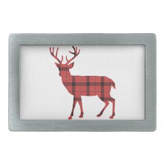 Simple Deer Red and Black Plaid Tartan Pattern Rectangular Belt Buckle