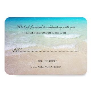 "Simple Destination Beach Wedding Reply Cards 3.5"" X 5"" Invitation Card"