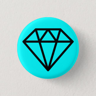 Simple Diamond - Black on Cyan 1 Inch Round Button