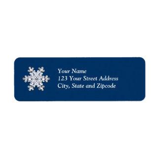 Simple Diamond Snowflake Return Address Label