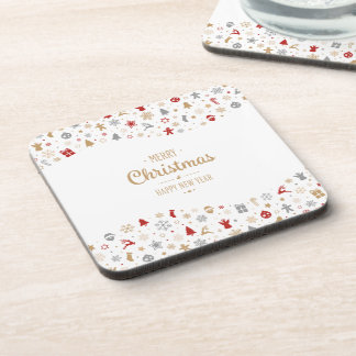 Simple Ditsy Christmas and New Year   Coaster