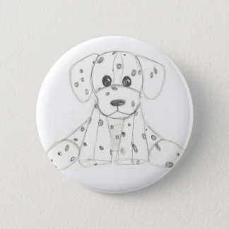 simple dog doodle kids black white dalmatian 2 inch round button
