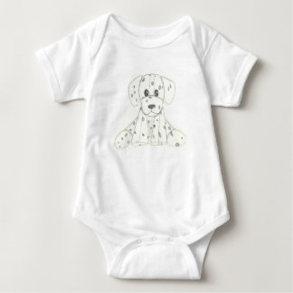simple dog doodle kids black white dalmatian baby bodysuit