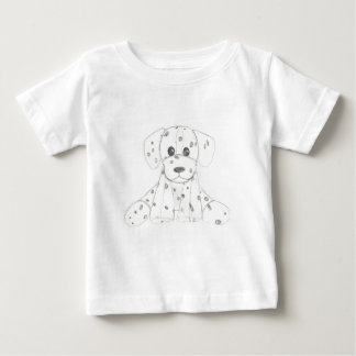 simple dog doodle kids black white dalmatian baby T-Shirt