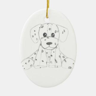 simple dog doodle kids black white dalmatian ceramic ornament